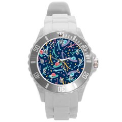 Alien Pattern Blue Round Plastic Sport Watch (L)