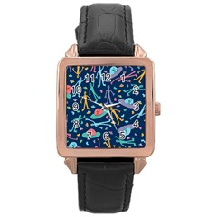 Alien Pattern Blue Rose Gold Leather Watch