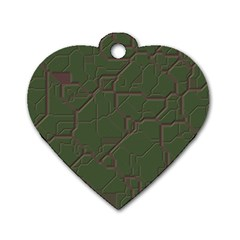Alien Wires Texture Dog Tag Heart (two Sides)