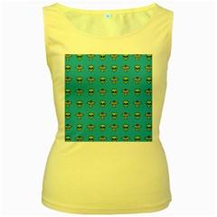 Alien Pattern Women s Yellow Tank Top