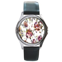 Texture Pattern Fabric Design Round Metal Watch