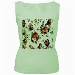 Texture Pattern Fabric Design Women s Green Tank Top