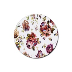 Texture Pattern Fabric Design Rubber Round Coaster (4 Pack)