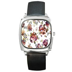 Texture Pattern Fabric Design Square Metal Watch