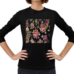 Texture Pattern Fabric Design Women s Long Sleeve Dark T-Shirts