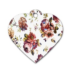 Texture Pattern Fabric Design Dog Tag Heart (Two Sides)