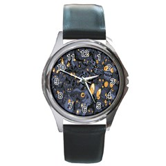Monster Cover Pattern Round Metal Watch