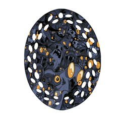 Monster Cover Pattern Oval Filigree Ornament (Two Sides)