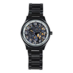 Monster Cover Pattern Stainless Steel Round Watch