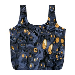 Monster Cover Pattern Full Print Recycle Bags (L)