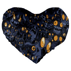 Monster Cover Pattern Large 19  Premium Flano Heart Shape Cushions
