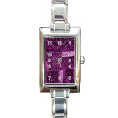Purple Background Patchwork Flowers Rectangle Italian Charm Watch