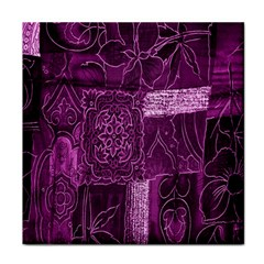 Purple Background Patchwork Flowers Tile Coasters