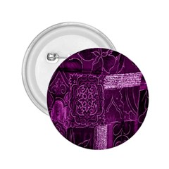 Purple Background Patchwork Flowers 2.25  Buttons