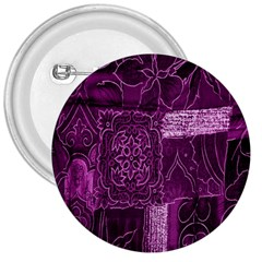 Purple Background Patchwork Flowers 3  Buttons