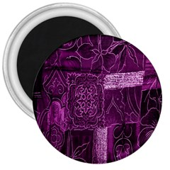 Purple Background Patchwork Flowers 3  Magnets