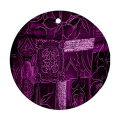 Purple Background Patchwork Flowers Ornament (round)