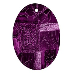 Purple Background Patchwork Flowers Ornament (Oval)