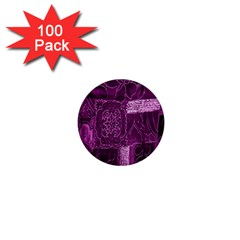 Purple Background Patchwork Flowers 1  Mini Buttons (100 pack)