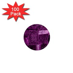 Purple Background Patchwork Flowers 1  Mini Magnets (100 pack)