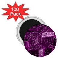 Purple Background Patchwork Flowers 1.75  Magnets (100 pack)
