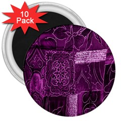 Purple Background Patchwork Flowers 3  Magnets (10 pack)