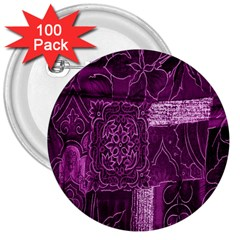 Purple Background Patchwork Flowers 3  Buttons (100 pack)