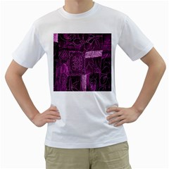 Purple Background Patchwork Flowers Men s T-Shirt (White) (Two Sided)