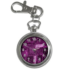 Purple Background Patchwork Flowers Key Chain Watches