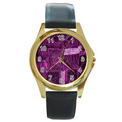 Purple Background Patchwork Flowers Round Gold Metal Watch