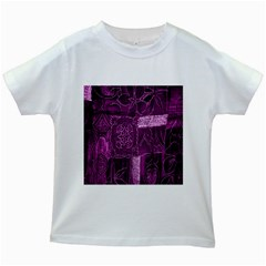 Purple Background Patchwork Flowers Kids White T Shirts