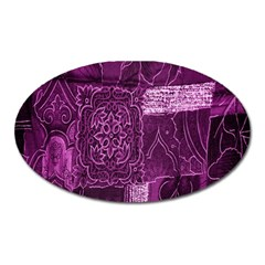 Purple Background Patchwork Flowers Oval Magnet