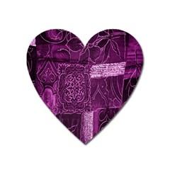Purple Background Patchwork Flowers Heart Magnet