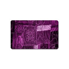Purple Background Patchwork Flowers Magnet (name Card)