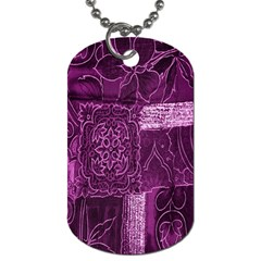 Purple Background Patchwork Flowers Dog Tag (One Side)