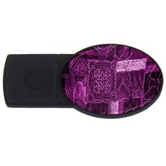 Purple Background Patchwork Flowers Usb Flash Drive Oval (2 Gb)