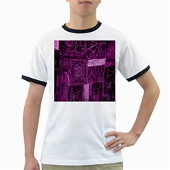 Purple Background Patchwork Flowers Ringer T Shirts