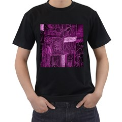 Purple Background Patchwork Flowers Men s T-Shirt (Black) (Two Sided)
