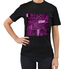 Purple Background Patchwork Flowers Women s T Shirt (black) (two Sided)