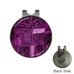 Purple Background Patchwork Flowers Hat Clips With Golf Markers