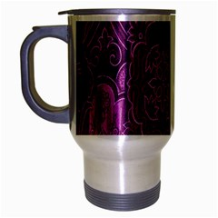 Purple Background Patchwork Flowers Travel Mug (Silver Gray)