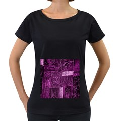 Purple Background Patchwork Flowers Women s Loose Fit T Shirt (black)