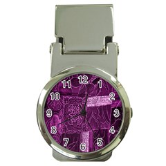 Purple Background Patchwork Flowers Money Clip Watches