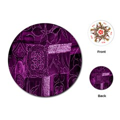 Purple Background Patchwork Flowers Playing Cards (round)