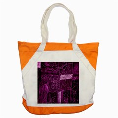 Purple Background Patchwork Flowers Accent Tote Bag