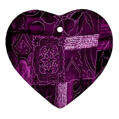 Purple Background Patchwork Flowers Heart Ornament (two Sides)