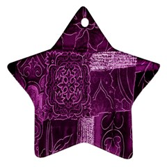 Purple Background Patchwork Flowers Star Ornament (two Sides)