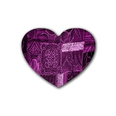 Purple Background Patchwork Flowers Heart Coaster (4 pack)