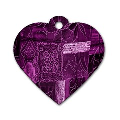 Purple Background Patchwork Flowers Dog Tag Heart (two Sides)