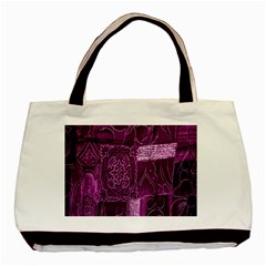 Purple Background Patchwork Flowers Basic Tote Bag (Two Sides)